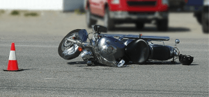 Motorcycle on its side due to accident in Fort Lauderdale