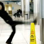 man slipping and falling