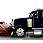 head on collision between sedan and a semi-truck