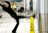man slipping on the floor